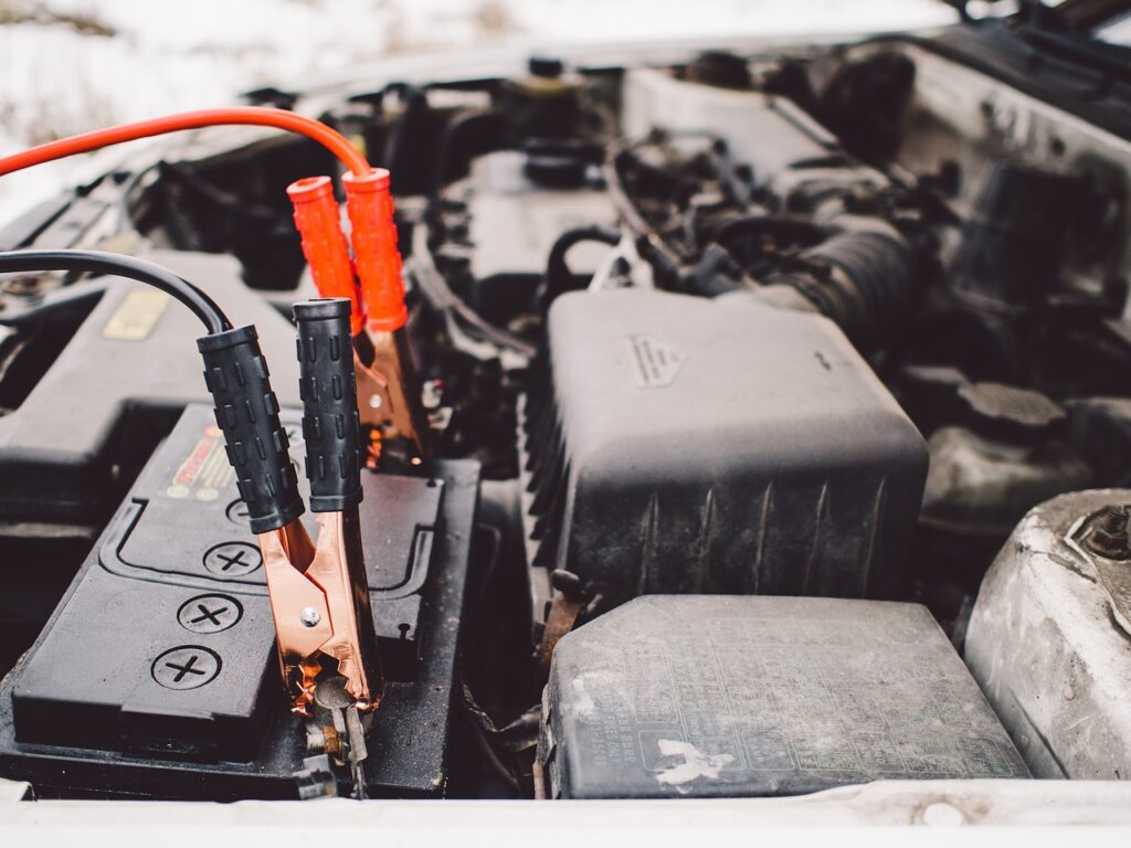 jumper cables, battery, engine